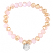 Top faceted Sisa bracelet 8x6mm (stainless steel charm) Rose alabaster-half champagne gold diamond coating
