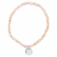 Top faceted Sisa bracelet 4x3mm (stainless steel charm) Rose alabaster-half champagne gold diamond coating