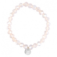 Top faceted Sisa bracelet 8x6mm (stainless steel charm) Light pink champagne opal-pearl diamond coating