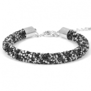 Crystal diamond bracelets 8mm Jet black-Labrador silver
