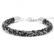Crystal diamond bracelets 7mm Jet black-Labrador silver