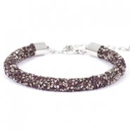 Crystal diamond bracelets 7mm Amethyst-anthracite