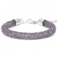 Crystal diamond bracelets 8mm Purple velvet