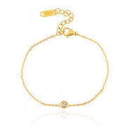 Stainless steel bracelets Sisa with rhinestone Gold