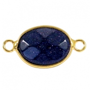 Oval semi precious pendants / connectors 18x14mm  Sparkle  Black blue sandstone-gold