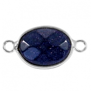 Oval semi precious pendants / connectors 18x14mm  Sparkle  Black blue sandstone-Silver
