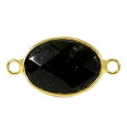 Oval semi precious pendants / connectors 18x14mm  Black jade stone-gold