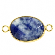 Oval semi precious pendants / connectors 18x14mm  Blue point stone-gold
