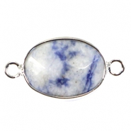 Oval semi precious pendants / connectors 18x14mm  Blue point stone-Silver