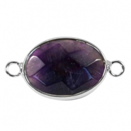 Oval semi precious pendants / connectors 18x14mm  Purple crystal-Silver