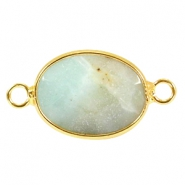 Oval semi precious pendants / connectors 18x14mm  Green aventurine quartz-gold