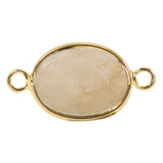 Oval semi precious pendants / connectors 18x14mm  Sand beige yellow jade stone-gold