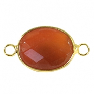 Oval semi precious pendants / connectors 18x14mm  Coral red line stone-gold
