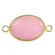 Oval semi precious pendants / connectors 18x14mm  Pink jade stone-gold