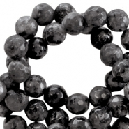 Natural stone round faceted beads 8 mm Antracite black