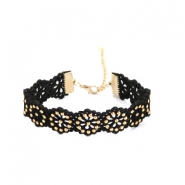Laced bracelets with studs Black-Gold