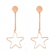 Star shaped earrings studs & chain Rose gold