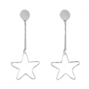 Star shaped earrings studs & chain Silver
