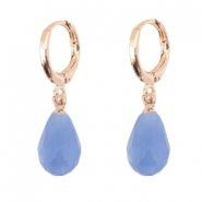 Trendy earrings with drop shaped faceted pendant Rose gold-sapphire blue
