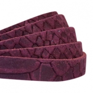 Reptile flat 10 mm DQ leather Light aubergine red
