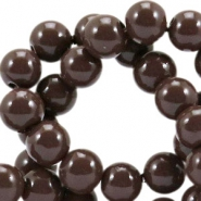 Opaque glass beads 6 mm French roast brown