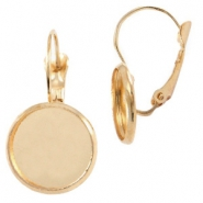 Metal earrings for 12mm cabochon Gold