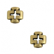 Cross DQ metal beads Antique Bronze (Nickel free)