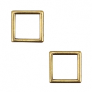 DQ metal square charms 12mm Antique Bronze (Nickel free)