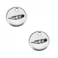 Round DQ metal feather charms 12mm Antique silver (nickel free)