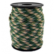 Round trendy 4 mm paracord Emerald green-beige black