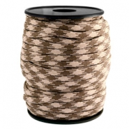 Round trendy 4 mm paracord Beige-dark brown