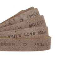 """smile love dream"" print flat 10 mm DQ leather Chocolate brown"