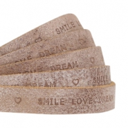 """smile love dream"" print flat 10 mm DQ leather Smoke cognac brown"