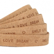 """smile love dream"" print flat 10 mm DQ leather Light cognac brown"