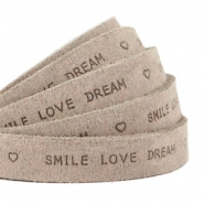 """smile love dream"" print flat 10 mm DQ leather Vintage brown"