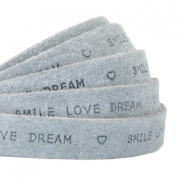 """smile love dream"" print flat 10 mm DQ leather Grey"