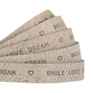 """smile love dream"" print flat 10 mm DQ leather Dark Country grey"