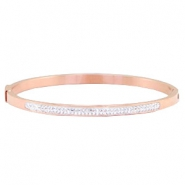 Stainless steel bracelets with rhinestones Rose gold
