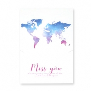 "Jewellery greeting card ""Miss you"" White-blue purple"