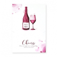 "Jewellery greeting card ""Cheers"" White-aubergine red"
