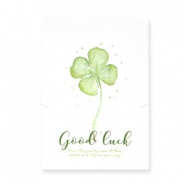 "Jewellery greeting card ""Good luck"" White-green"