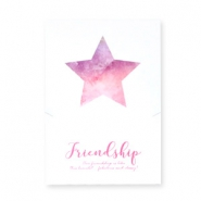 "Jewellery greeting card ""Friendship"" White-rose purple"