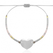 Stainless steel bracelets with Miyuki beads and heart shaped connector Light greige-Silver rainbow