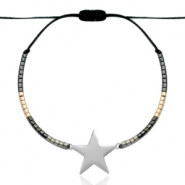 Stainless steel bracelets with Miyuki beads and star shaped connector Black-anthracite