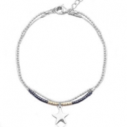 Stainless steel bracelets with Miyuki beads and ballchain with star shaped charm Black-anthracite