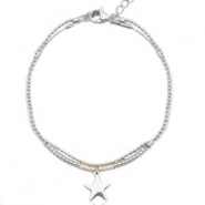 Stainless steel bracelets with Miyuki beads and ballchain with star shaped charm Light greige-Silver rainbow