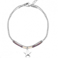 Stainless steel bracelets with Miyuki beads and ballchain with star shaped charm Beige grey-aubergine green