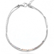 Stainless steel bracelets with Miyuki beads and ballchain Light greige-Silver rainbow