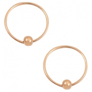 Trendy earrings hoops with ball Rose gold