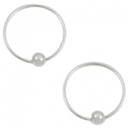 Trendy earrings hoops with ball Silver